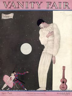 Premium Giclee Print: Vanity Fair Cover - April 1927 Art Print by Georges Lepape by Georges Lepape : Vanity Fair Magazine, Magazine Art, Magazine Covers, Art Deco Illustration, Illustrations, Harlem Renaissance, Old Magazines, Vintage Magazines, Pierrot Clown