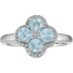 Lab-Created Aquamarine and White Topaz Flower Sterling Silver Ring ($87) ❤ liked on Polyvore featuring jewelry, rings, sterling silver jewelry, aquamarine rings, white flower crown, white crown and white topaz rings