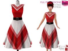 Second Life Marketplace - Full Perm MI Rigged V Retro Dress FITMESH - Slink…