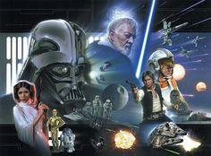 Spectacular 'Star Wars' Topps Artwork by Jerry Vanderstelt Star Wars Fan Art, Star Wars Cast, Theme Star Wars, Star Trek, Star Wars Pictures, Star Wars Images, Indiana Jones, Sith, Star Wars Episodio Iv