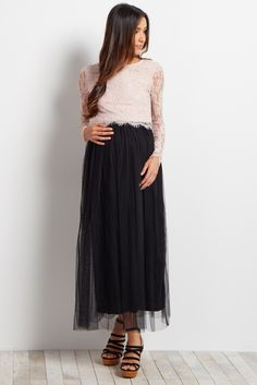 This oh-so-feminine tulle maternity skirt is the perfect addition to your wardrobe this year. A pretty tulle mesh fabric and maxi style fit gives you a piece you can layer over any tank, crop top, or even a long sleeve sweater. With this gorgeous skirt, there are endless possibilities for a stylish and chic look.