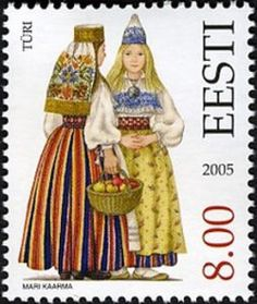 Eesti Post has put together an outstanding collection of postage stamps commemorating the diversity of Estonian national costumes between t. Folk Costume, Costumes, Going Postal, Work Inspiration, Stamp Collecting, My Stamp, Traditional Dresses, Postage Stamps, Textile Design