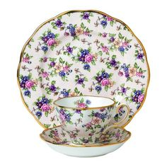 "Royal Albert 3 Piece 100 Years 1940 Teacup, Saucer & Plate Set, 8"", Multicolor - Floral Fine China Teacup and plate - Porcelain Tea Cup"