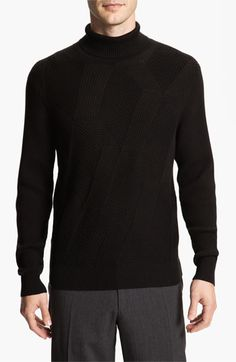 Calibrate Cross Ribbed Cotton & Cashmere Turtleneck Sweater | Nordstrom