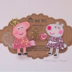 Peppa Pig Best Friends Inspired Hair clips, Character by LittleMagicPieces on Etsy https://www.etsy.com/listing/217273155/peppa-pig-best-friends-inspired-hair