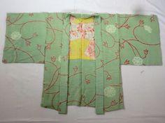 Japanese Vintage Kimono Haori Silk Green Red Shibori RARE Liner P112756 | eBay