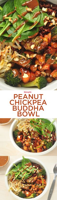 This Peanut Chickpea Buddha Bowl recipe makes enough to spread into four servings, so you can feed a crowd or save it for the whole week!