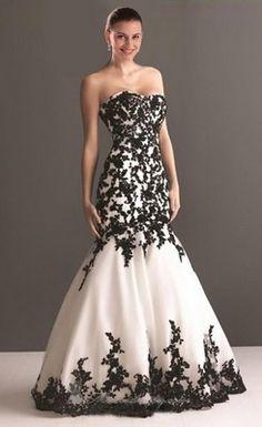 Sexy Sweetheart Black Applique Mermaid Black Wedding Dress