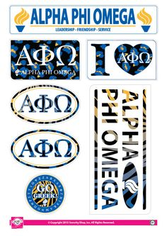Alpha Phi Omega Animal Print Stickers Alpha Phi Omega, Scrapbook Stickers, Sticker Design, Custom Stickers, Leadership, Friendship, Animal, Prints, Note