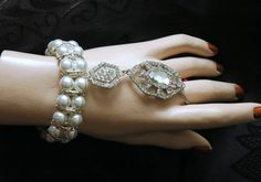 1920s Gatsby Bracelet Pearl Slave by AyansiWeddingDesigns on Etsy