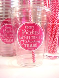 Bachelorette PARTY Drinking Team disposable tumblers 16 oz. at $1.00 ea. Convenience with a dash of GLAM!