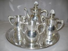 "Silver Plate Silver Metal Co Tea Pot Set 1892-1898 Serving Tray 14 1/2"" Newbury Port 1904-15"