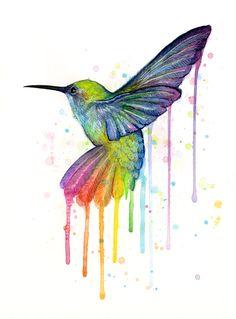 Hummingbird Watercolor. --  Art by Olga Shvartsur