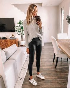 Fashion Jackson Wearing Everlane Taupe Turtleneck Sweater Commando Faux Leather Leggings Golden Goose Sneakers Source by fashion_jackson fashion outfit Winter Fashion Outfits, Fall Winter Outfits, Look Fashion, Autumn Fashion, Womens Fashion, Japan Fashion, Fashion Wear, Fashion Clothes, Summer Outfits