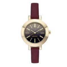 Red Leather Braelynn Strap Watch | Nine West