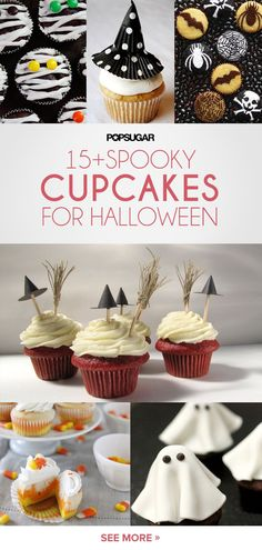 These spooky sweet cupcakes – classic versions featuring creative witches' hats, spiderwebs, mummies, owls, and ghosts, are more delightful than frightful!