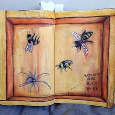 psykotyka:  Therapy day 73: collect dead bugs here  #wtj #wtjsf #wtjpages #wreckthisjournal #wtjideas #kerismith #artjournal #journal #ded #destructive #destructiveart #destruaestediario #destrozaestediario #deathbugs #collect #bugs #spider #bees #therapy #arttherapy