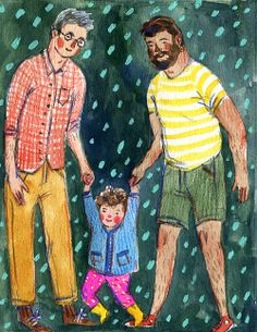 """Two Papas"" an illustration for Father's Day, available as a card in my Etsy shop! Phoebe Wahl 2014"