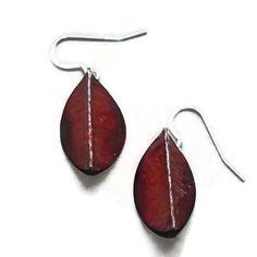 Red copper earring copper dangle earring red by LunaLocoJewellery