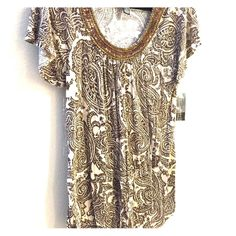 Beautiful shirt Brown & off white INC International Concepts Tops