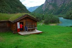 Cottage with growing thatched roof in Bøverdalen, Norway