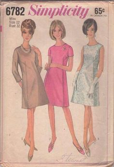 MOMSPatterns Vintage Sewing Patterns - Simplicity 6782 Vintage 60's Sewing Pattern CHIC Jackie O Top Stitch Detail Cocktail Party Dress, Simple Wedding Gown Size 12 // Alice ?