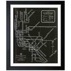 Oliver Gal 'New York Subway Map 1958' Framed Art - Overstock™ Shopping - Top Rated The Oliver Gal Artist Co. Prints
