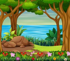 Beautiful forest scene with river and trees vector image on VectorStock Kids Background, Flower Background Wallpaper, Background Clipart, Cartoon Background, Landscape Background, Flower Backgrounds, Background Designs, Art Drawings For Kids, Drawing For Kids
