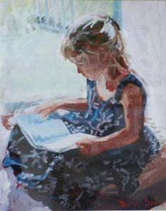 Reading and Art: Rowland Davidson People Reading, Kids Reading Books, Reading Art, Book People, Woman Reading, I Love Books, Good Books, Illustrations, Illustration Art