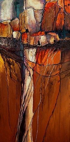 ANCIENT DWELLINGS, 9078 by Carol Nelson Acrylic ~ 48 x 24