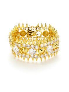 Gold & CZ Stud Cuff Bracelet by Noir Jewelry on Gilt.com