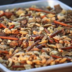 Crockpot Chex Mix!! So wonderful! It was delicious, and SO much easier to stir in the big crockpot instead of tossing on the cookie sheet. I did cook mine for about 2 hours though. - I did not use this recipe, only the crockpot instructions....