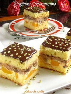 """Prajitura Buonissimo o prajitura cu doua creme intre doua blaturi: una de vanilie cu bucati de piersici si alta cu ciocolata, stafide """"imbatate"""" in alcool si aschii de ciocolata. Romanian Desserts, Cake Recipes, Dessert Recipes, Pie Dessert, Food Cakes, Mini Cakes, Cake Cookies, Cheesecakes, I Foods"""