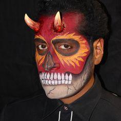 Devil Skull makeup by Elvia Olivarria Torres @elviamakeup. Model: Oscar Pancho Torres.