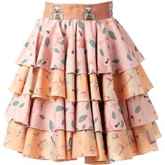 SUPERSWEET x moumi - Rabbitfoot Skirt ($342) ❤ liked on Polyvore featuring skirts, cat skirt, travel skirt, cat print skirt, pink tutu and circle skirt