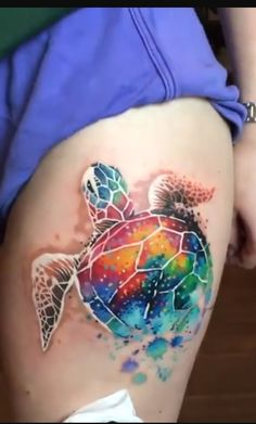 Watercolor turtle tattoo #hawaiiantattoossleeve