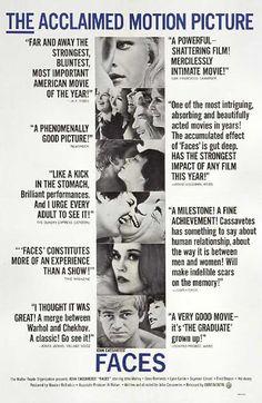 """Faces"" (1968). Director: John Cassavetes. Cast: John Marley, Gena Rowlands, Lynn Carlin, Fred Draper"