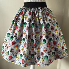 Marvel Superheroes Full Skirt ($42) ❤ liked on Polyvore featuring skirts, black, women's clothing, skater skirts, full skirt, full skater skirt and knee length skater skirt