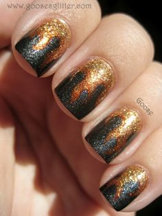 More Hunger Games inspired nails...these look sweet