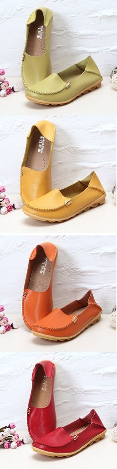 US$15.39  Big Size Pure Color Soft Slip On Leather Casual Comfortable Lazy Flat Shoes