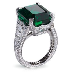HEART ATTACK- Solyanka Emerald Ring - Faberge. This piece is set in platinum and features 14 baguette diamonds and 251 round diamonds totalling 5.62 carats. The centre stone is an emerald of 13.73 carats.