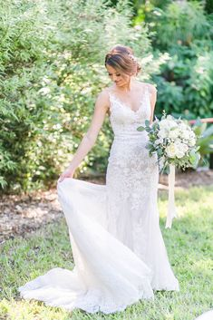 """Kelsey said """"I do"""" in a romantic lace mermaid wedding dress by Justin Alexander Bridal. Photo by Tiffany McClure Photography. Lace Mermaid Wedding Dress, Mermaid Gown, Wedding Dress Boutiques, Wedding Dresses, Justin Alexander Bridal, White Closet, Romantic Lace, Bridal Boutique, Designer Collection"""