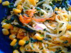 Pasta Primavera with Spaghetti Squash, Kale, Corn & Bell Peppers (Gluten Free)