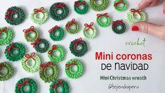Mini coronas de Navidad tejidas a crochet 🎄 Knitting ProjectsKnitting For KidsCrochet ProjectsCrochet Ideas # Crochet Diy, Crochet Motif, Crochet Shawl, Crochet Crafts, Yarn Crafts, Crochet Flowers, Crochet Projects, Crochet Patterns, Crochet Christmas Ornaments