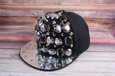 cool hiphop black snapback silver rim decoration DJ cap singer street dancer cap fashions accessories arylic rhinestones charms snapback by littledandeliondream on Etsy