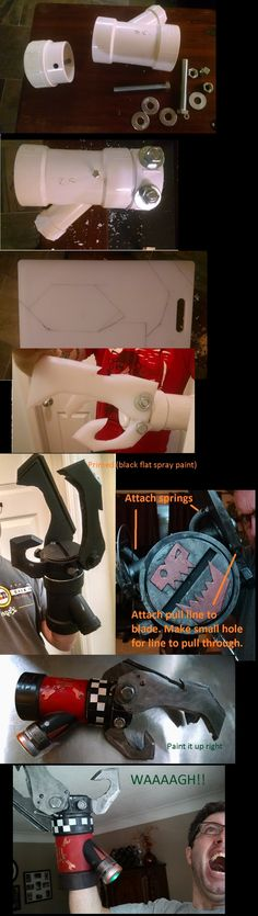 How to build an Ork power Claw , Turn PVC pipe and a cutting board into a Cosplay piece in under 30 hours. Cosplay Weapons, Cosplay Armor, Epic Cosplay, Cosplay Diy, Cosplay Outfits, Cosplay Costumes, Cyborg Costume, Cosplay Ideas, Steampunk Weapons