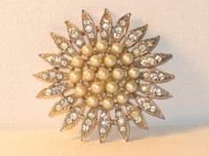 Silver Tone Faux Pearl and Clear Rhinestone by delightfullyvintage, $22.00