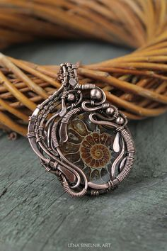 Ammonite pendant Wirewrapped pendant Copper by LenaSinelnikArt