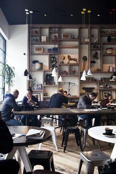 Cafe. LOVE the wall shelf