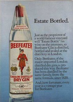 vintage beefeater gin liqour label | Beefeater's London Distilled Dry Gin (1978)